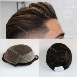 Men Toupees Human Hair Durable Hairpieces Lace and PU