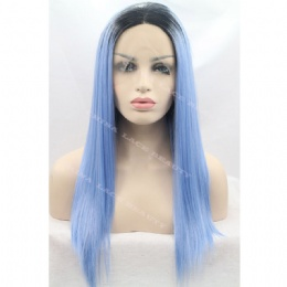 Synthetic lace front wig black blue straight