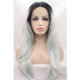Synthetic lace front wig black silver grey straight