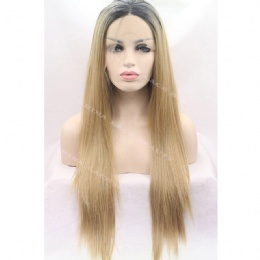 Synthetic lace front wig black brown straight