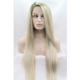 Synthetic lace front wig grey straight