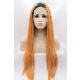 Synthetic lace front wig orange straight