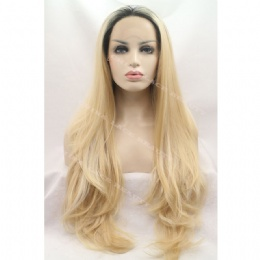 Synthetic lace front wig black strawberry blonde straight