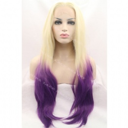 Synthetic lace front wig blonde purple straight