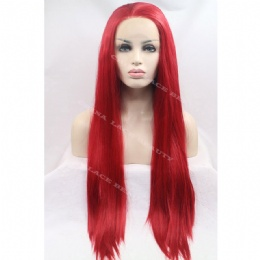 Synthetic lace front wig red straight