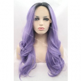 Synthetic lace front wig black pansy wavy
