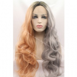 Synthetic lace front wig brown grey wavy