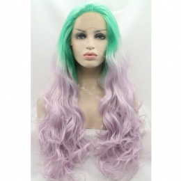 Synthetic lace front wig green pink wavy