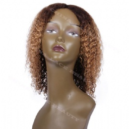 Machine weft made wigs jerry curl