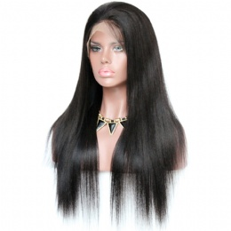 Yaki straight brazilian virgin hair improved 360°anatomic lace wigs 150% thick density pre-plucked hairline