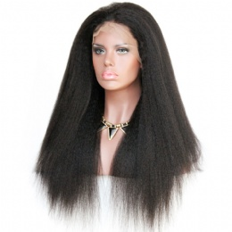 Italian yaki brazilian virgin hair improved 360°anatomic lace wigs 150% thick density pre-plucked hairline