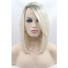 Synthetic lace front wig black grey bobo